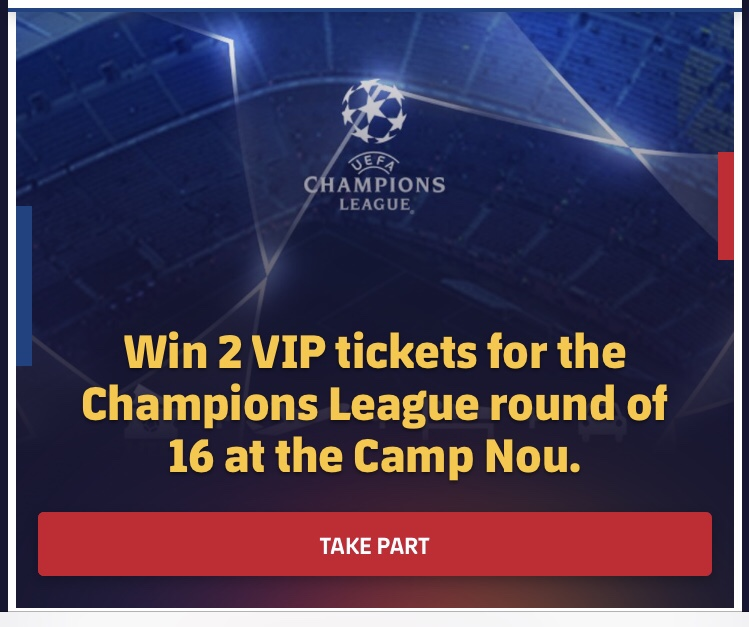 Champions League 4 Matchday Round Season 2018 2019: FCBARCELONA WANTS YOU TO Win 2 VIP Tickets For The
